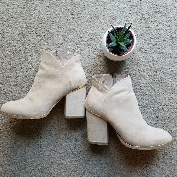 9853113295984 ASOS Shoes | Suede Cream Ankle Boots W Gold Sz 6 | Poshmark